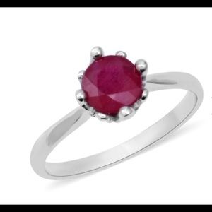 NWT 2 Carat Ruby Solitaire Ring in .925 Silver WOW